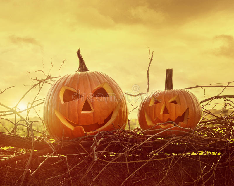 Funny face pumpkins sitting on fence royalty free stock photography