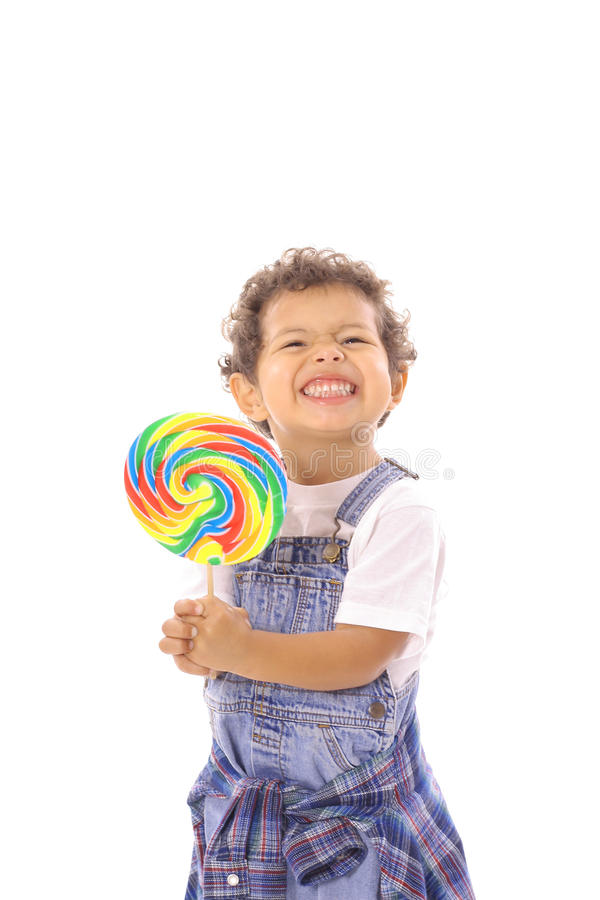 Download Funny Face Toddler With Big Lollipop Stock Image - Image: 14740815