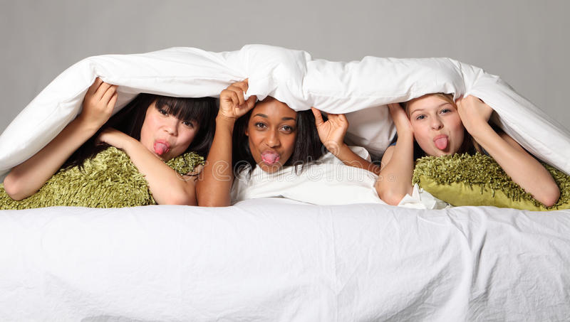 Download Funny Face Tongues Out At Teenage Slumber Party Stock Image - Image: 21618033