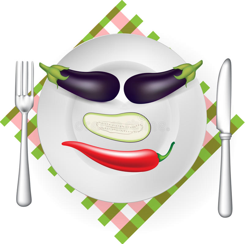 Funny face with vegetables vector illustration