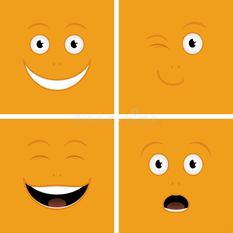 Funny Faces. Vector set of funny cartoon characters with emotions royalty free illustration