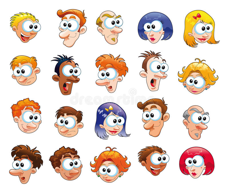 Download Funny faces stock vector. Image of race, beauty, human - 9803861