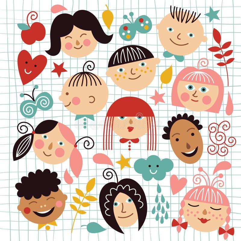 Funny faces of children stock illustration