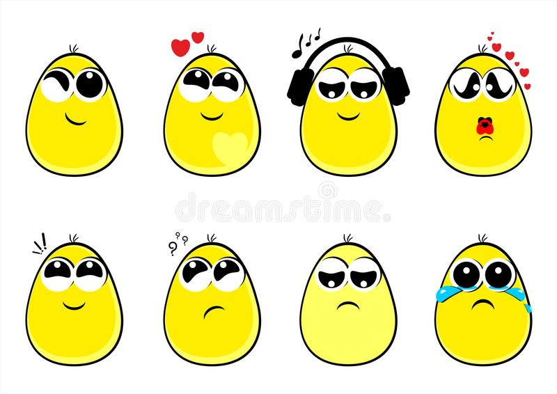Funny eggs faces, new, emotion, smiles, emoticons, vector, illustration. Funny faces, funny characters, funny eggs, smiles, cheerful, for smile, for fun, funny royalty free illustration