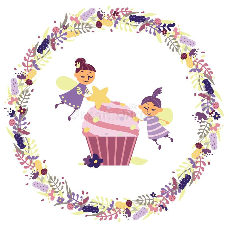 Funny fairies make a cupcake. vector illustration