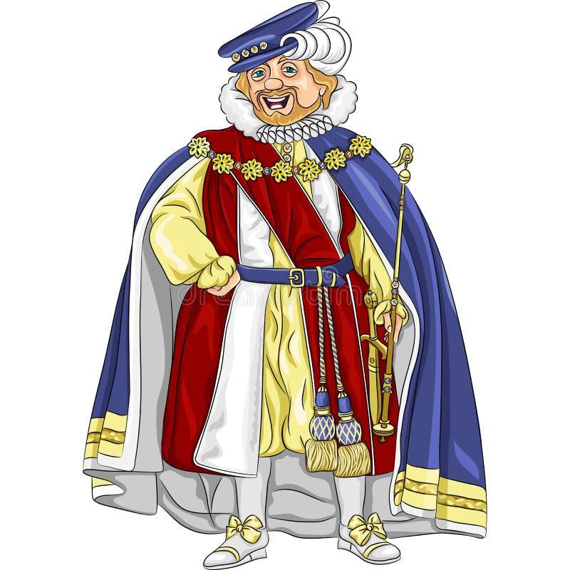Funny fairytale cartoon king smiles. Funny fairytale cartoon king in ceremonial robes smiles stock illustration