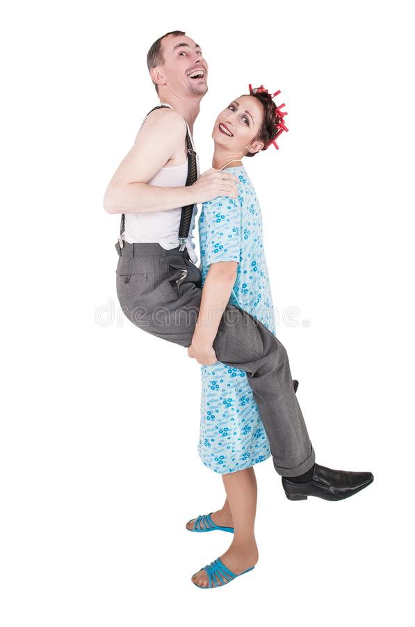 Funny family couple having fun isolated royalty free stock images