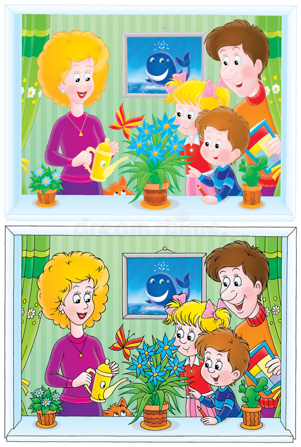 Funny family (drawings with black and color contou vector illustration
