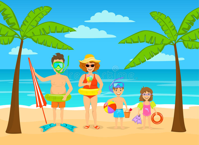 Funny family on summer beach tropical vacations, ready for holidays royalty free illustration