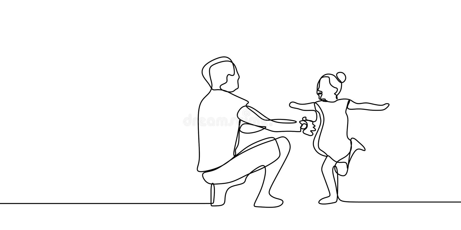 Funny family time with childhood concept of father and his daughter continuous one line drawing vector illustration stock illustration