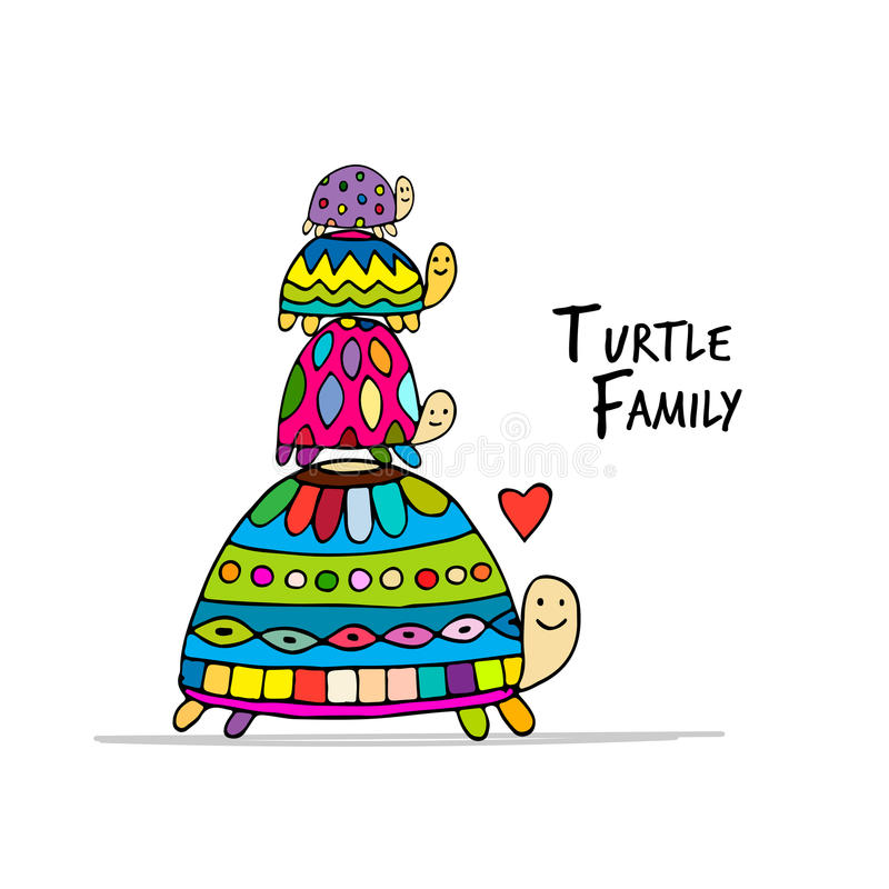 Funny family, turtle with chidren, sketch for your design vector illustration