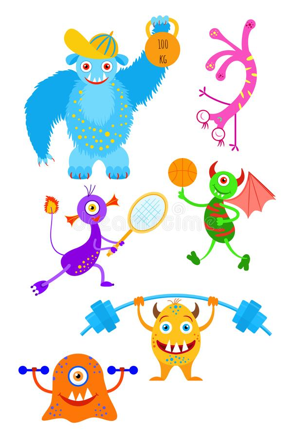 Funny fantasy monsters playing sport games collection. Monster`s morning sports exercises vector illustration