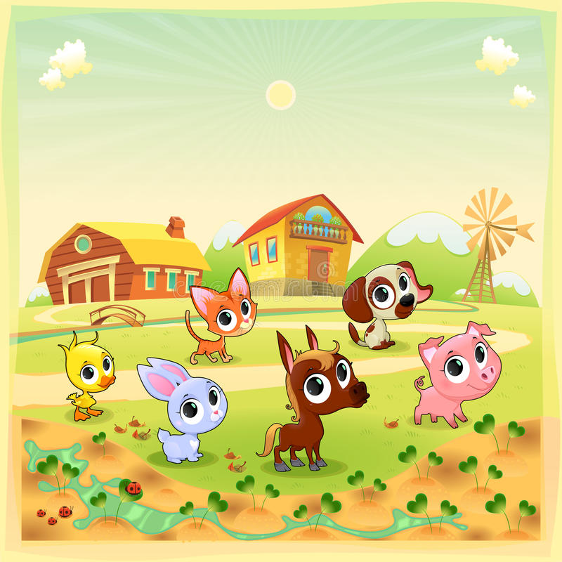 Funny farm animals in the garden stock illustration