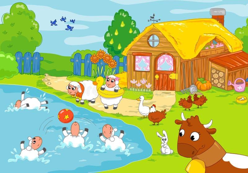 Funny Farm And Playing Animals. Children Illustrat Stock Illustration