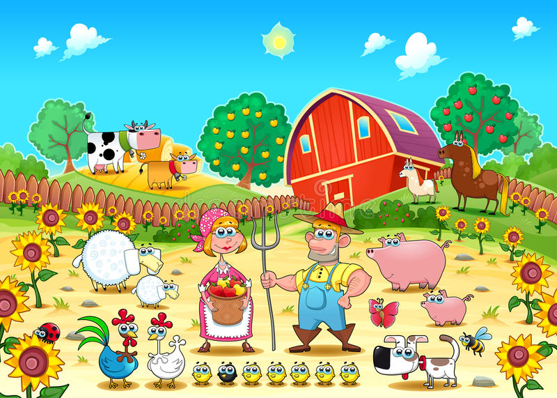 Funny farm scene with animals and farmers vector illustration