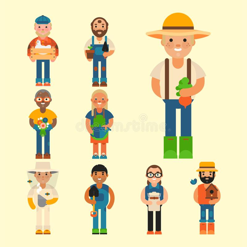 Farmer character man agriculture person profession rural gardener worker farming people vector illustration. vector illustration