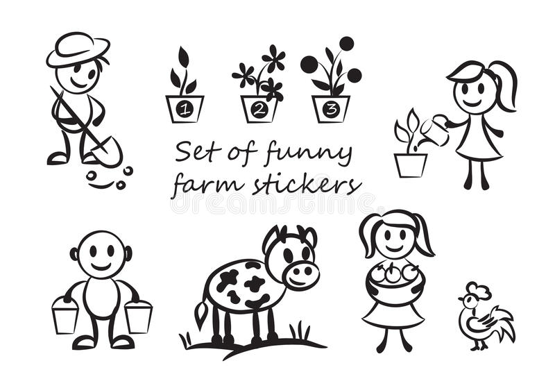 Funny farmers. Set of silhouettes of men. funny farmers and their animals. using the contours on the farm people, drawn in a simplified style royalty free illustration