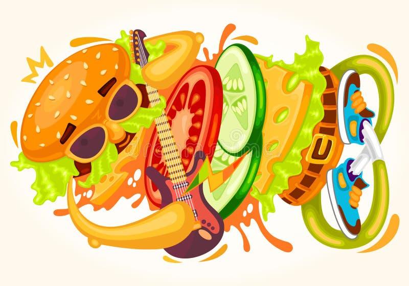 Funny fast food colorful music vector illustration sandwich, hamburger, cheeseburger character, bun, guitar, tasty burger king che stock illustration