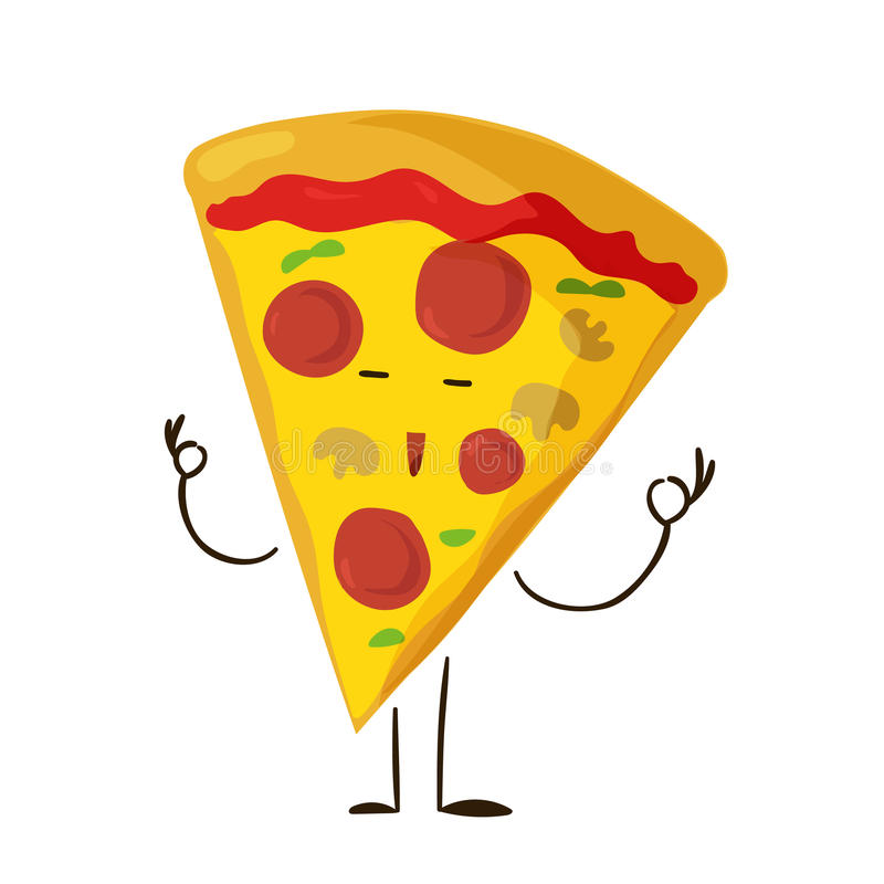 Funny fast food pizza slice icon. Vector illustration for restaurant pizzeria menu design. Italian cheese cartoon comic character. Delivery toppings on white stock illustration