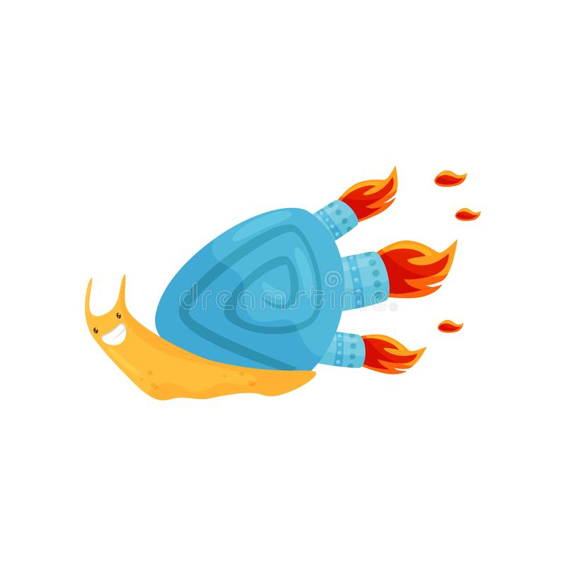 Funny fast snail with blue shell and turbo speed booster with fire, cute mollusk cartoon character vector Illustration stock illustration