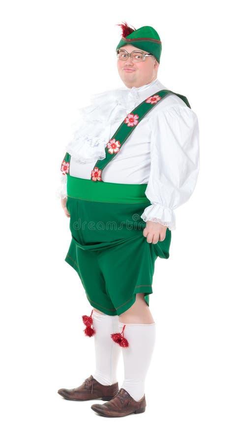 Funny fat man wearing German Bavarian clothes