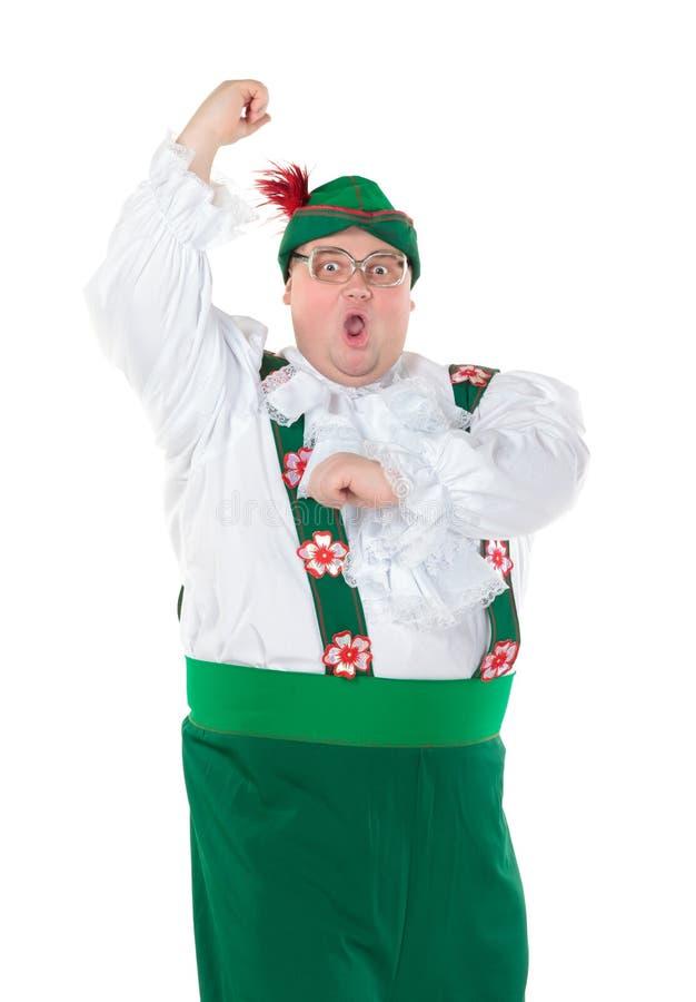 Funny Fat Man Wearing German Bavarian Clothes Stock Photos