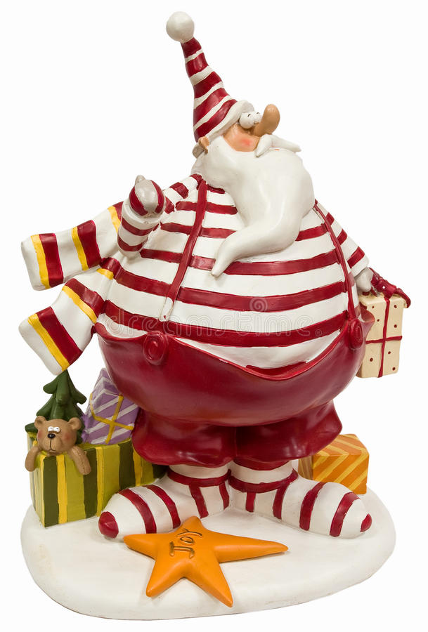 Funny fat Santa Claus in red striped pullover. And cap isolated on white with clipping paths stock photography
