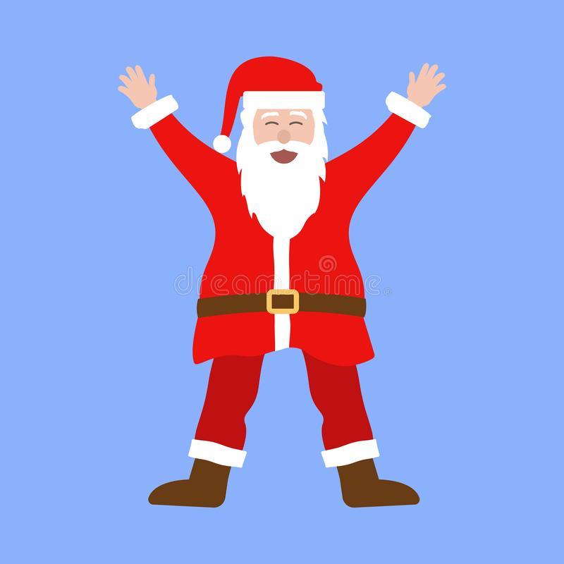 Funny fat Santa Claus with sunglasses dancing. On blue background stock illustration
