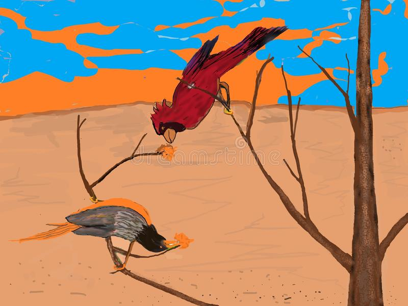 Funny Feathered Friends Playing. Birds can be hilarious, one of nature`s gifts and one of God`s most perfect part of our world.  At play birds show us how we royalty free illustration