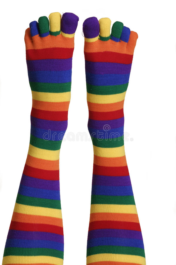 Funny Feet. Colourful feet and toes stock photo