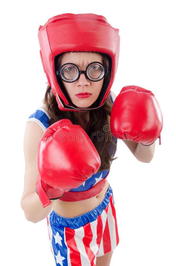 Funny Female Boxer Royalty Free Stock Images
