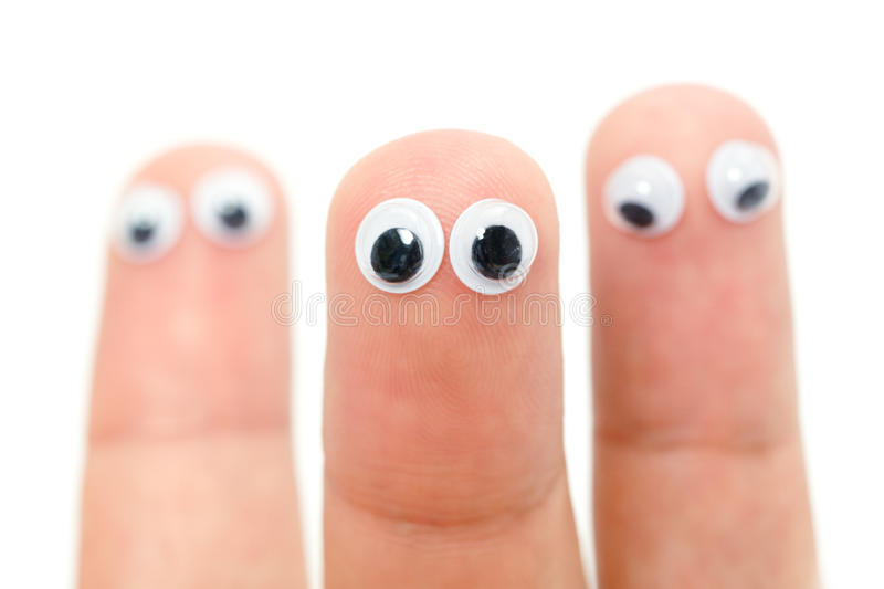 Funny fingers with eyes royalty free stock photo