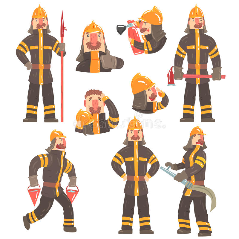 Funny Fireman At Work Using Firefighting Gear And Wearing Firefighter Uniform With Helmet And Bunker Coat royalty free illustration