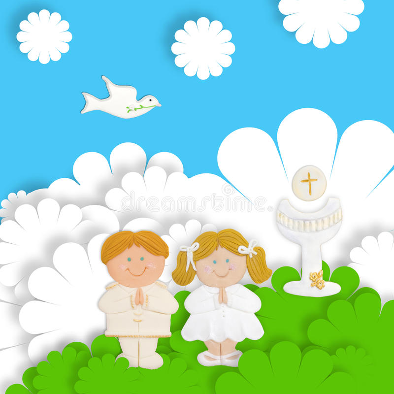 Funny first communion card. First communion card funny groups of children royalty free illustration