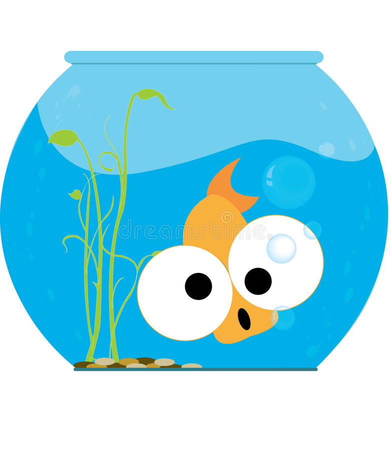 Funny Fish. Illustraion of a big eyed gold fish in a fish bowl. Also in . ai file