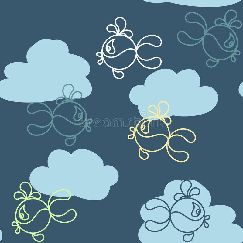 Funny fish and clouds. Seamless background for baby clothes and bedding . Vector. Illustration royalty free illustration