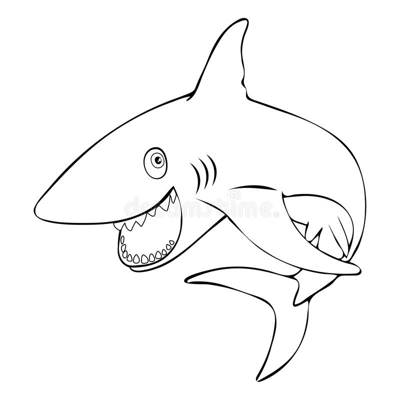 Funny fish shark smiling jumps out of the water, linear hand drawing, cartoon character, vector black and white illustration, colo. Ring, sketch, silhouette vector illustration