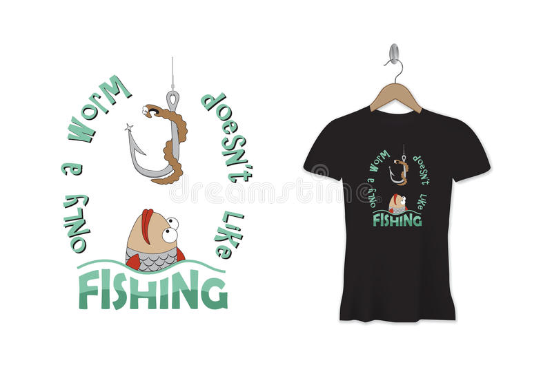 Funny fishing t-shirt print or sticker design. Vector template. vector illustration