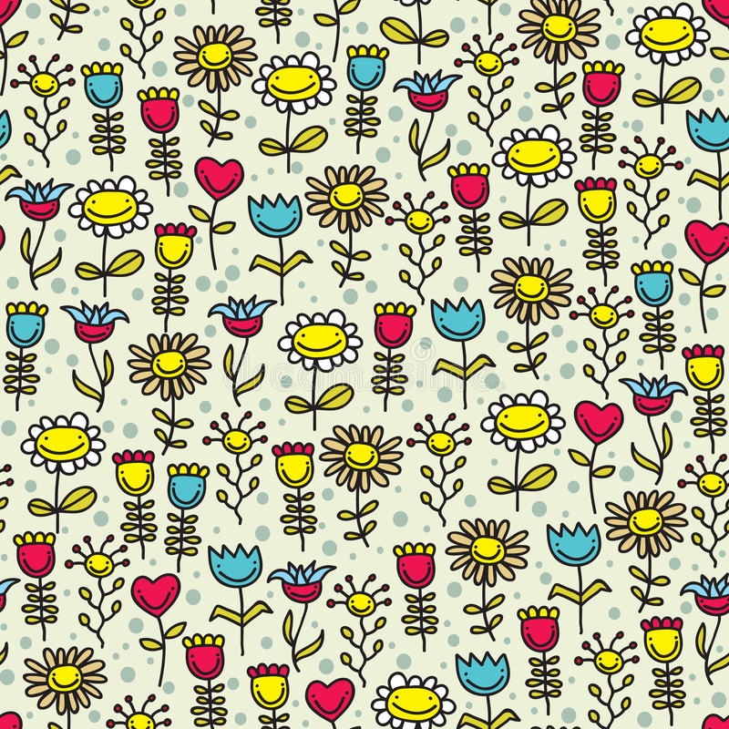 Funny flower seamless pattern. Flower seamless pattern. Vector doodle illustration vector illustration