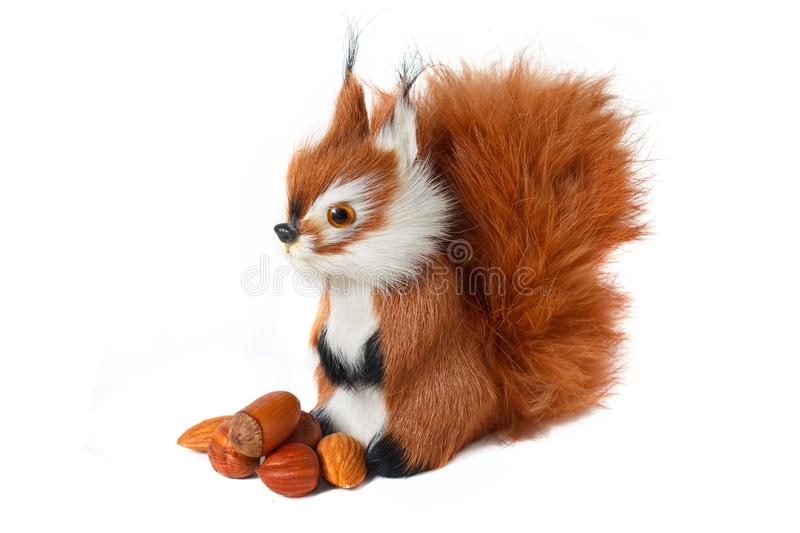 Funny fluffy squirrel with nuts isolated on white background. Toy royalty free stock images
