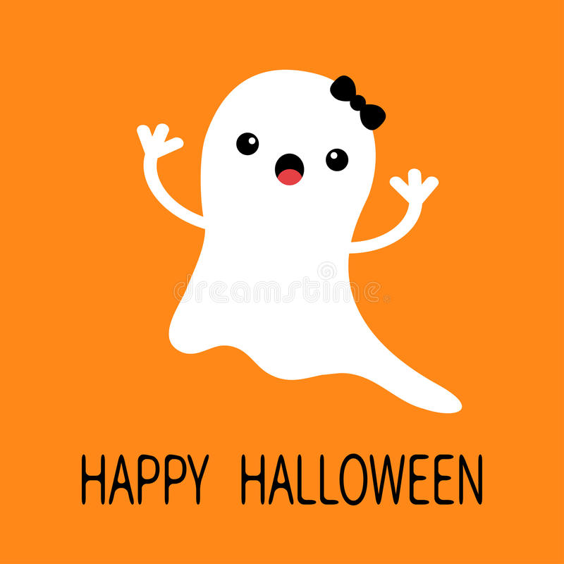 Funny flying baby girl ghost with black bow. Smiling face. Happy Halloween. Greeting card. Cute cartoon character. Scary spirit. vector illustration