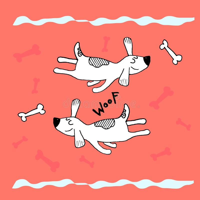 Funny flying sleeping dog, hand doodle childish print. Perfect for t-shirt, apparel, cards, poster, nursery decoration. Vector vector illustration