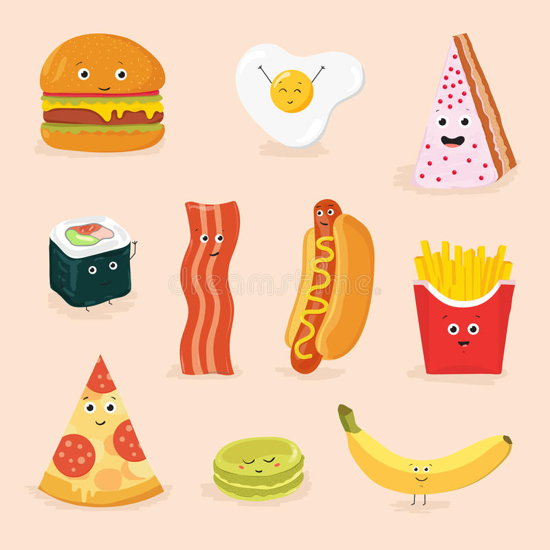 Funny food cartoon characters isolated vector illustration. royalty free illustration