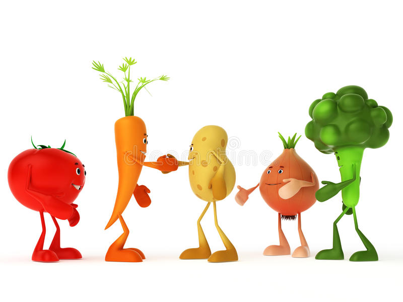 Download Funny food characters stock illustration. Image of healthy - 24042442