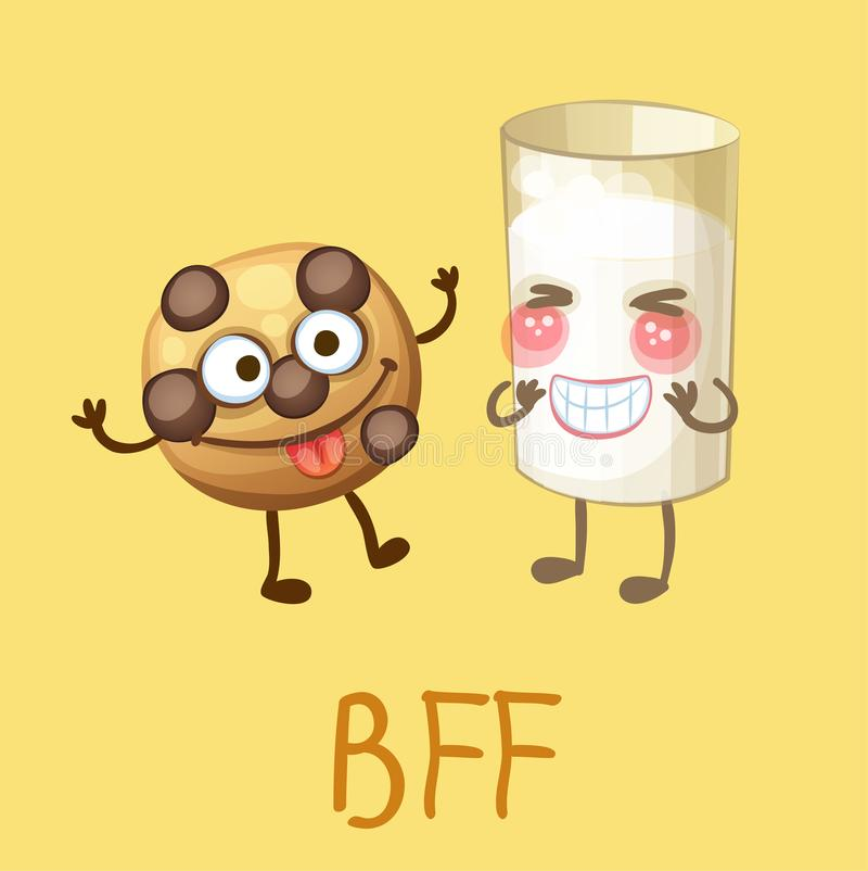 Funny food characters cookie and glass of milk vector illustration