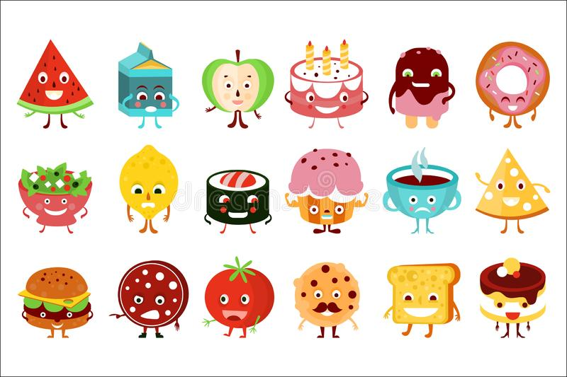 Funny food and drink characters with funny faces and emotions big set vector illustration stock illustration