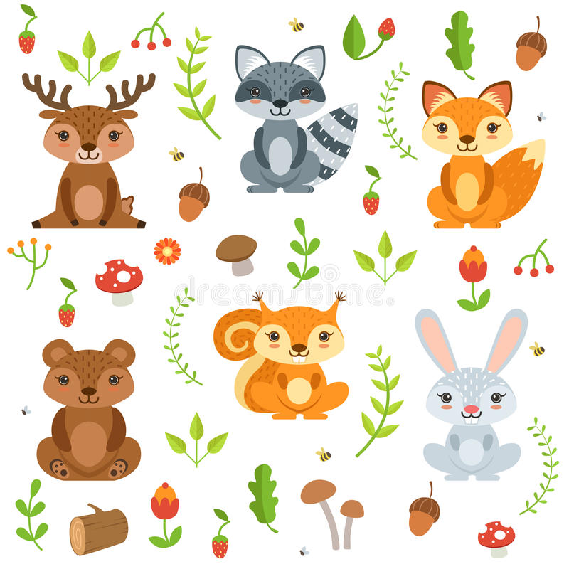 Funny forest animals and floral elements isolate on white background. Vector illustration in cartoon style royalty free illustration