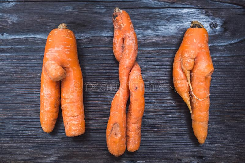 Funny forms of carrots on background of dark board royalty free stock photos