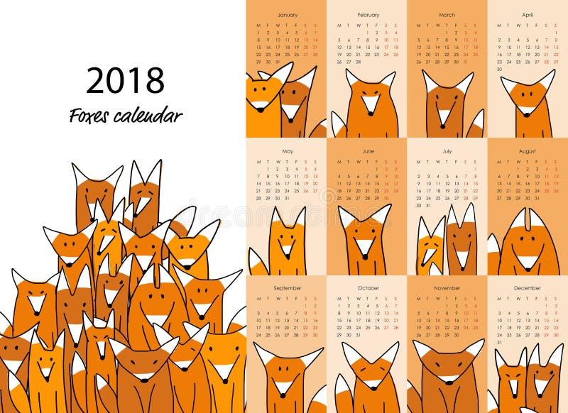 Funny foxes, calendar 2018 design stock illustration