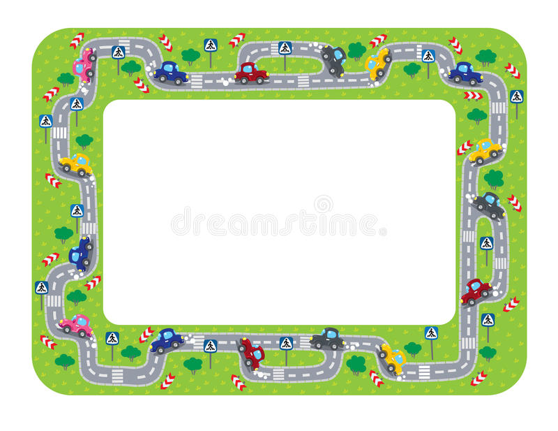 Funny Frame Or Border With Roads And Cars. Stock Vector ...